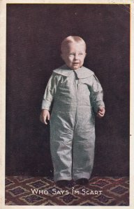 Who Says I'm Scart Little Boy Postcard 1910 Aldrich to Stockton MO D02