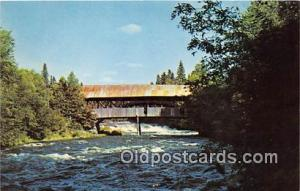 Covered Bridge Vintage Postcard Pittsburg Clarksville Conn River, NH, USA unused