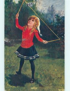 Pre-Linen signed PRETTY GIRL PLAYING WITH ROPE TOY J4898