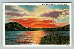 Ishpeming MI-Michigan, Sunset on Lake Bancroft, Vintage c1930 Postcard