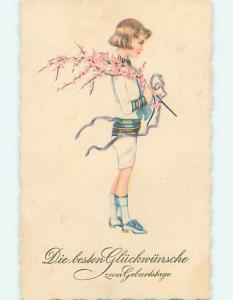 Pre-Linen foreign GERMAN CHILD CARRYING PINK FLOWERING BRANCH ON SHOULDER HJ4293