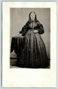 c1910 RPPC REPRINT of c1870 Tintype~Victorian Young Lady w/Thick Curls~Crenoline