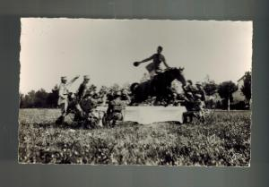 Mint French Cavalry Army RPPC Real Picture Postcard Horse Jumping Over Table