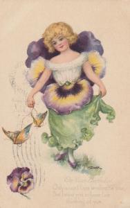 M.Dulk : Pansy Flower Girl , 1916