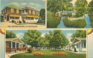 Baltimore Maryland Del Haven Hotel Cottages 1939 Postcard Dexter linen 5796
