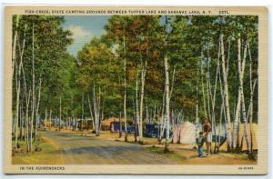 Fish Creek Camping Grounds Tupper Saranac Lakes Adirondacks New York postcard