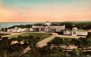 Illinois Chicago Jackson Park Museum Of Science and Industry Handcolored Albe...