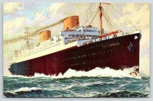 Steam Ship~Columbus Ocean Liner~Norddeutscher Lloyd Bremen~Land in France~1937