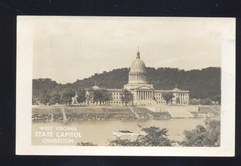 RPPC CHARLESTON WEST VIRGINIA STATE CAPITOL VINTAGE REAL PHOTO POSTCARD
