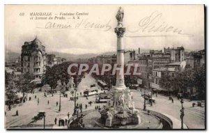 Postcard Old Marseille Cantini fountain and Avenue du Prado