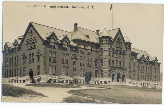 Rppc State Normal School In Oneonta Ny New York Hippostcard