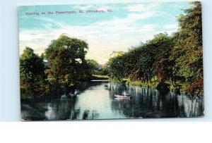 Boating on Passumpsic River St. Johnsbury Vermont VT 1911 Vintage Postcard A39