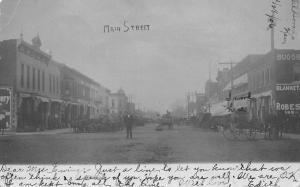 El Dorado KS Man On Dirt Main St~I Work w/Buggies, Blankets & Robes~RPPC 1906