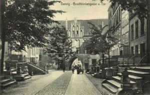 poland germany, DANZIG GDAŃSK, Brodtbänkengasse u. Tor (1910s) Postcard
