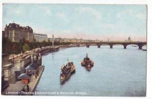 P1233 old england unused postcard boats london thames & waterloo bridge