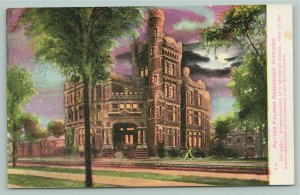 Chicago Illinois~Potter Palmer Castle Mansion Night~Purple Sky~Full Moon~1910 PC
