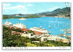 Postcard Typical Day in Charlotte Amalie Harbor, St Thomas US VI 1975 T41