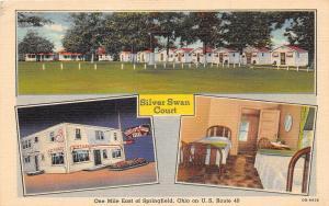 E21/ Springfield Ohio Postcard Linen Silver Swan Court 3View Interior
