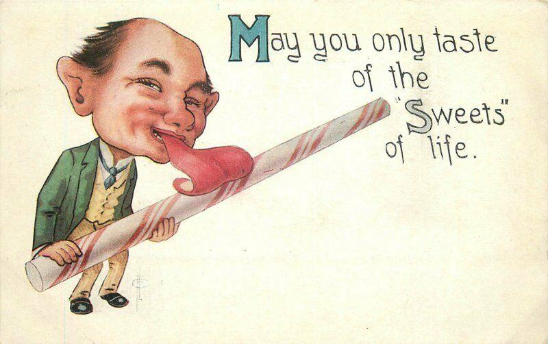 Artist impression Man licking peppermint Stick Sweet Life C-1910 Postcard 968