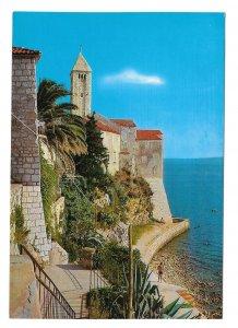 Rab Island Croatia Adriatic Sea Cliffs Old Town Vtg Vjesnik Zagreb 4X6 Postcard