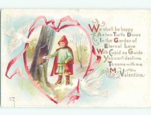 Pre-Linen valentine GIRL DRESSED LIKE RED RIDING HOOD AT HOLLOW TREE W6959