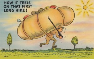 COMIC, 1930-40s; Soldier with a struggling with huge backpack under bright su...