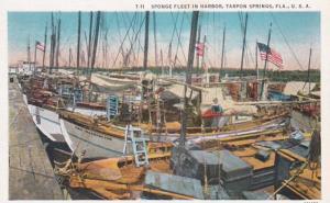 Florida Tarpon Springs Spong Fleet In Harbor Curteich