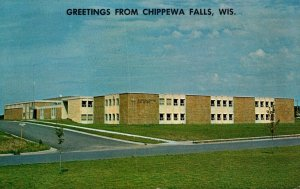 Wisconsin Greetings From Chippewa Falls Showing McDonnell Catholic Central Hi...