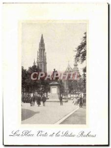 Old Postcard La Place Verte Antwerp And The Statue Relens