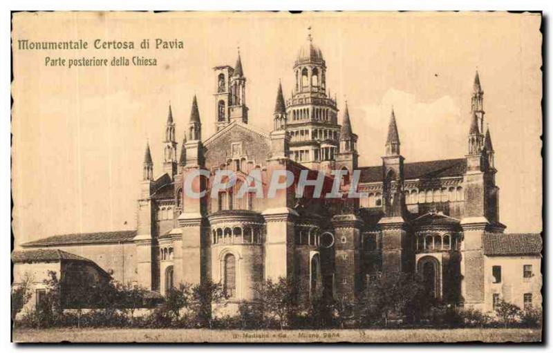 Old Postcard Monumental Certosa di Pavia Posteriore Parte della Chiesa