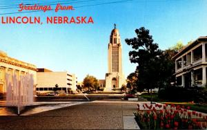 Nebraska Greetings From Lincoln Showing State Capitol