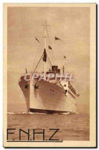 Postcard Old Boat Koutoubia Ship Navigation Company Paquet Marseille