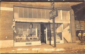 Dustin OK Owl Drug Store Store Front Window RPPC Real Photo Postcard