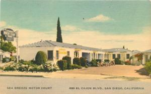 1940s Sea Breeze Motor Court Postcard Roadside San Diego California 11747
