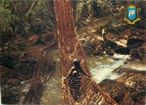 Postcard Cote d'Ivoire Le pont de lianes de Gouesseso Region de Man ethnic type