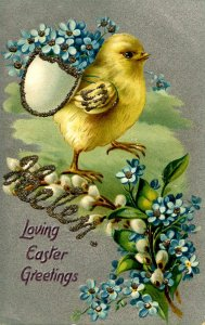 Greeting - Easter    Helen  (Tuck Series 701. chick, glitter)