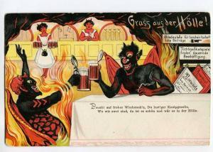 264559 GRUSS AUS Der Holle HELL Devil w/ BEER Vintage postcard
