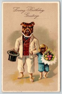 PFB Fantasy Dogs~Dressed Bulldog Tips Top Hat~Puppy on Arm~Embossed~19095957