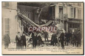 Old Postcard Army Crime Reims Rue de Talleyrand houses Gonet and Belvoye bomb...