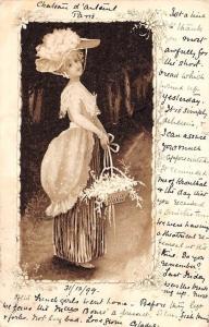 Vintage Fashion Clothing Fancy Hat Flowers Basket Lady Woman 1899 art nouveau