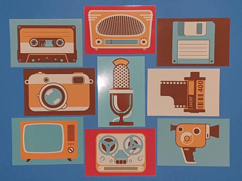 Set of 9 NEW Retro Media Icon Postcards, Camera, TV, Radio, Floppy, Film, Tape