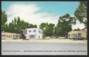 Hersheys Motel Between Colorado Springs & Manitou Springs Colorado Unused c1950s