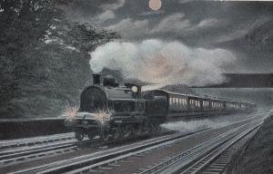 LNWR 4-4-0 Train at Night Headlights Glaring Irish Mail Train Postcard