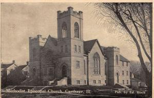 Carthage Illinois Methodist Episcopal Church Antique Postcard K101795