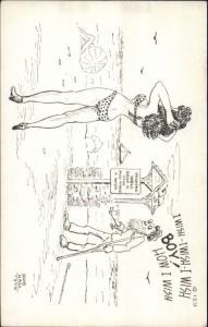 Sexy Bathing Beauty & Old Man at Wishing Well Bob Hall 1950 Comic Postcard