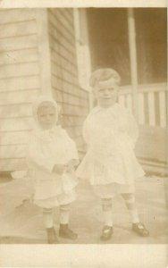 Postcard RPPC Children Standing On Porch