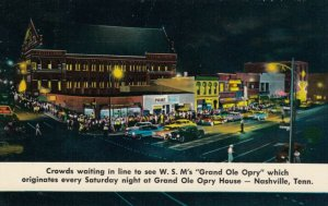 NASHVILLE, TN, 1940-60s; Grand Ole Opry House, crowds waiting in line at Night