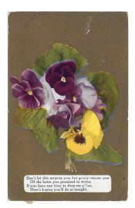 Motto Postcard Flowers on Gold Background Pansies
