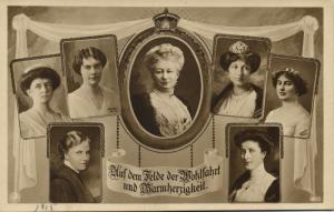 German Empress Auguste Victoria with other German Prussian Royalty (1915) RPPC