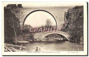 Old Postcard View of Pierre-Perthuis & # 39ensemble Bridges